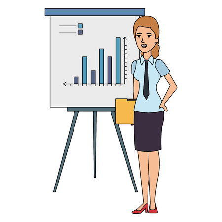 businesswoman with paperboard training avatar character vector illustration
