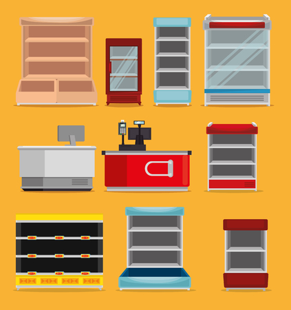 supermarket shelvings with register machine vector illustration design