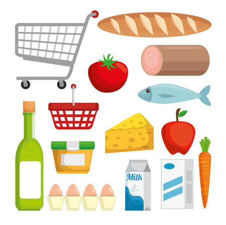 Supermarkt Set Produkte mit Sonderangebot Vektor-Illustration Design Standard-Bild - 102354183