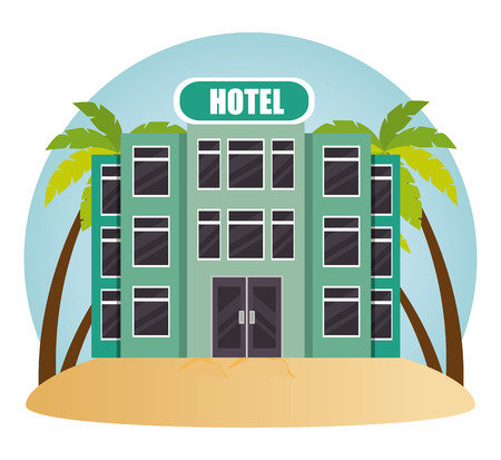 building hotel in the beach vector illustration design