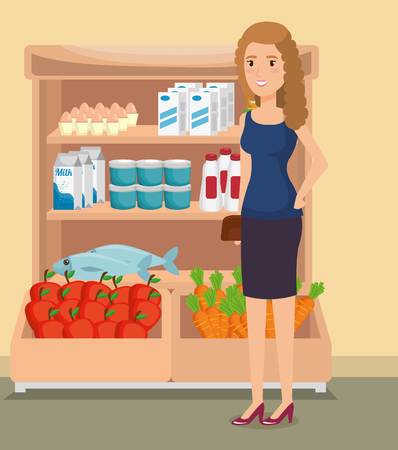 supermarket shelvings with woman buying vector illustration design