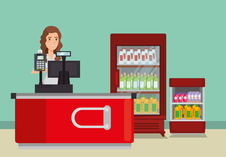 person in supermarket payment point vector illustration design Illustration