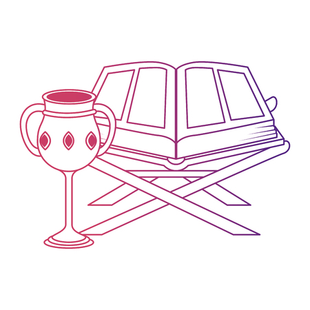 sacred book with lectern and chalice religious vector illustration design Illustration