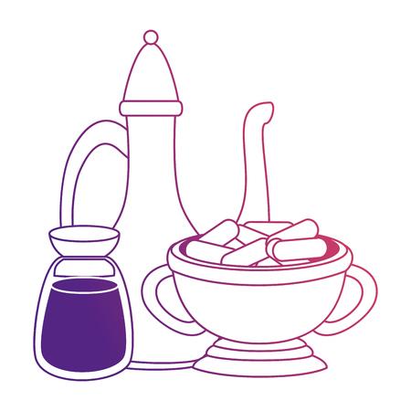 ramadan kareem ceremonial set accessories vector illustration design