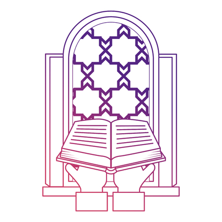 sacred book with temple window religious icon vector illustration design Illustration