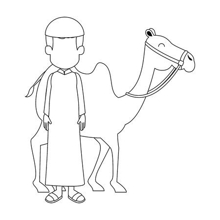 uomo musulmano con disegno di illustrazione vettoriale di trasporto animale cammello