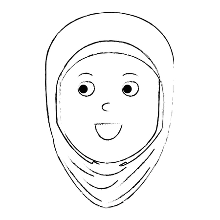 Muslim woman head avatar character vector illustration design Çizim