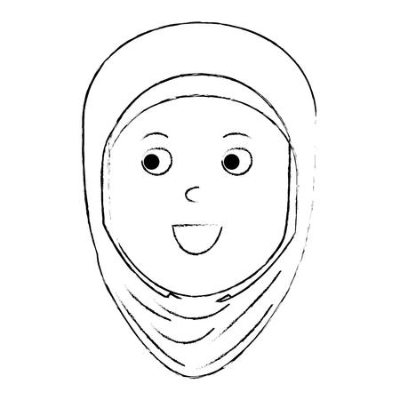 Muslim woman head avatar character vector illustration design Illustration