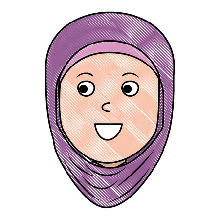 Muslim woman head avatar character vector illustration design Stock Photo
