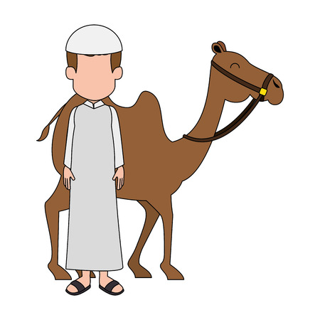 muslim man with camel animal transport vector illustration design