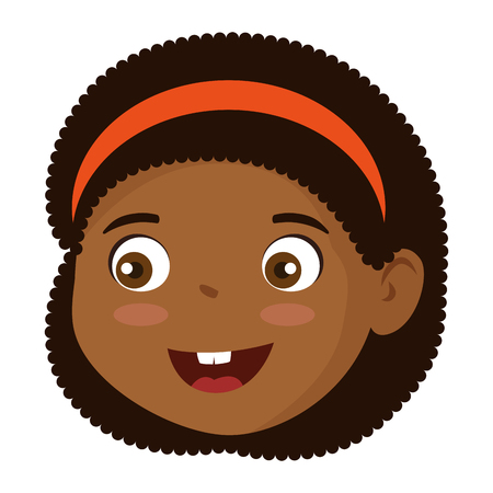 little girl black head character vector illustration design Vecteurs