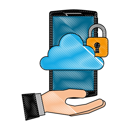 hand holding smartphone with cloud storage cybre security vector illustration 일러스트