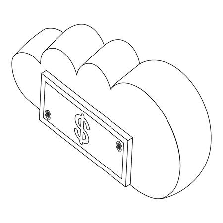 cloud computing dollar money bank vector illustration