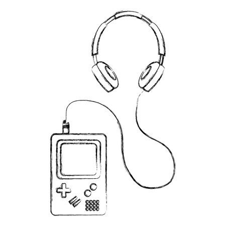 retro game console and earphones vector illustration Illustration