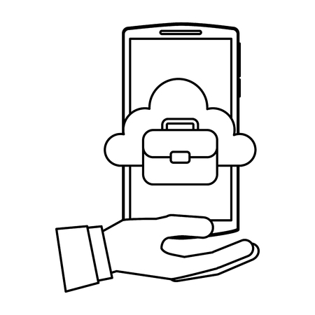 hand holding smartphone with cloud storage business briefcase vector illustration