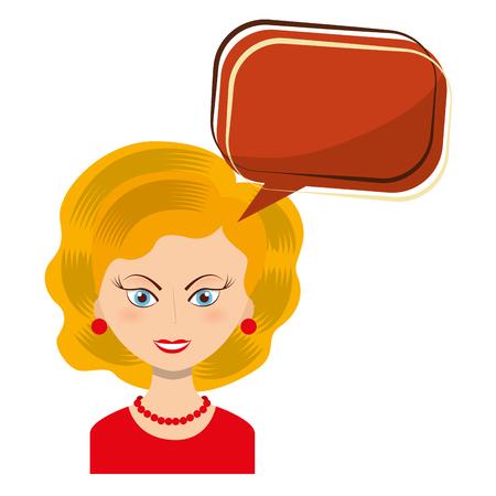 retro woman with speech bubble isolated icon vector illustration design