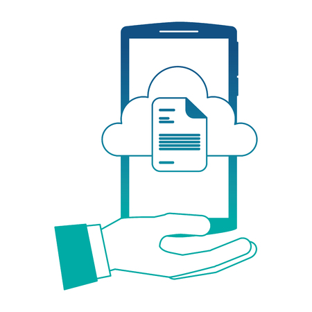 hand holding smartphone with cloud storage and document vector illustration