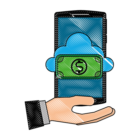 hand holding smartphone with cloud computing dollar banknote vector illustration