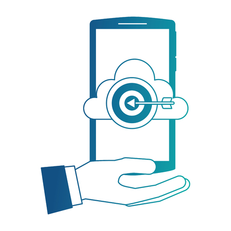 hand holding smartphone with cloud storage target startup vector illustration