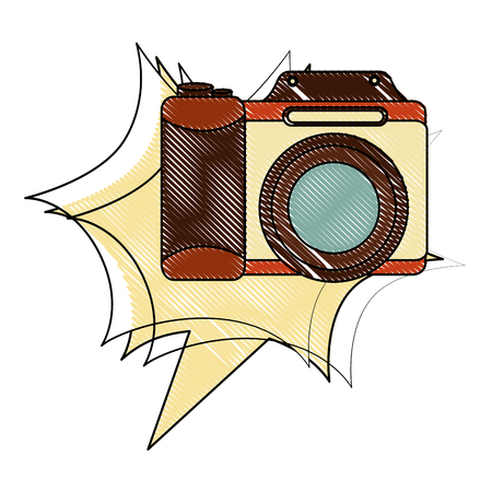 photographic camera lens retro vintage vector illustration drawing