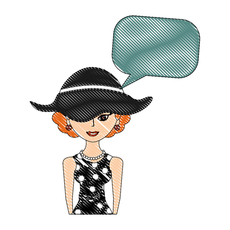 elegant woman with hat character retro with speech bubble vector illustration drawing