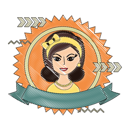 beautiful woman with headband retro style stamp vector illustration drawing