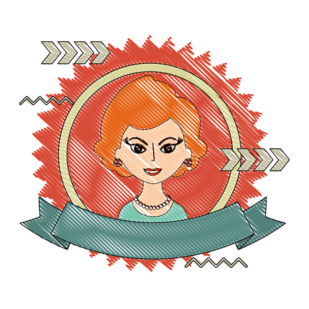 beautiful woman character classic style stamp vector illustration drawing 向量圖像