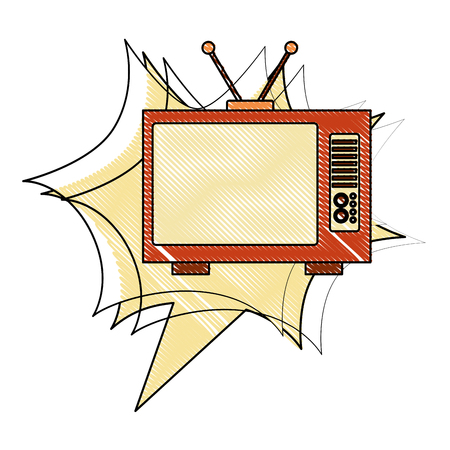 television device retro vintage style vector illustration drawing Ilustrace