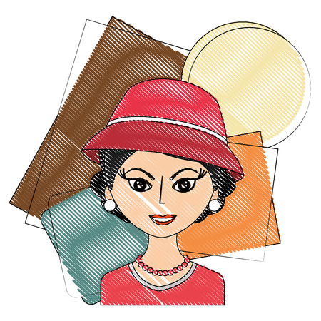 fashionable woman with hat retro style vector illustration drawing