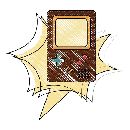 video game console classic retro vintage vector illustration drawing