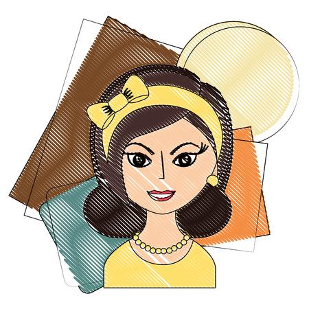 beautiful woman with headband retro style vector illustration drawing Illustration