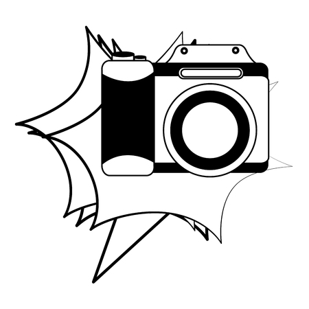 photographic camera lens retro vintage vector illustration black and white  イラスト・ベクター素材