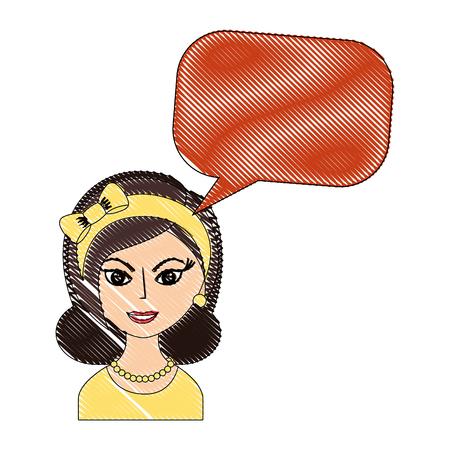 beautiful woman with headband retro style speech bubble vector illustration drawing