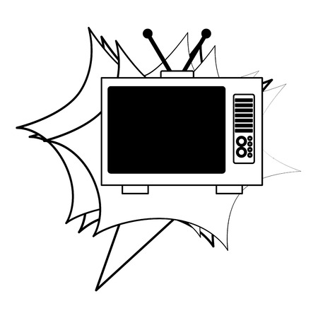 television device retro vintage style vector illustration black and white 일러스트