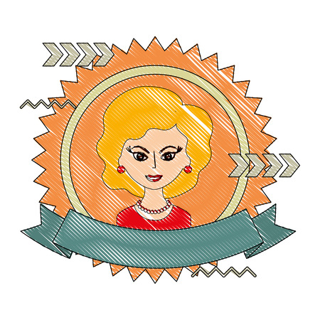 cute woman portrait retro style stamp vector illustration drawing