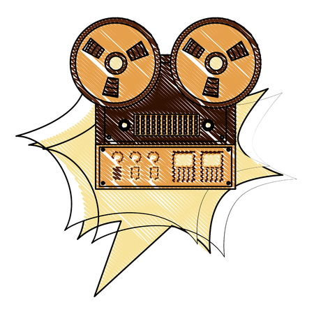 reel to reel tape recorder retro vintage vector illustration drawing