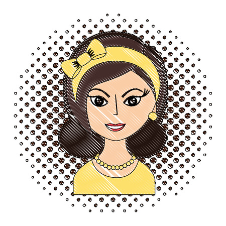 beautiful woman with headband retro style pop art vector illustration drawing Illustration