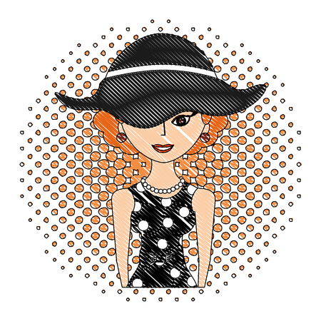 elegant woman with hat character retro pop art vector illustration drawing 向量圖像