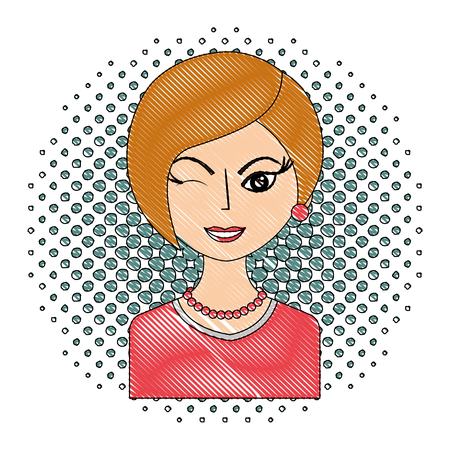 winking woman portrait character pop art vector illustration drawing