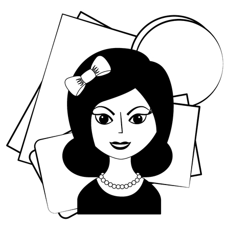 beautiful woman with headband retro style vector illustration black and white