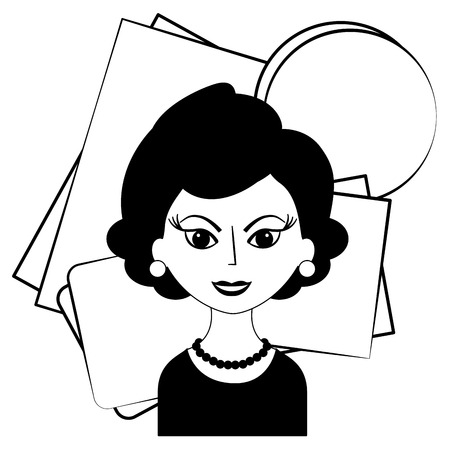 beautiful woman character classic style vector illustration black and white