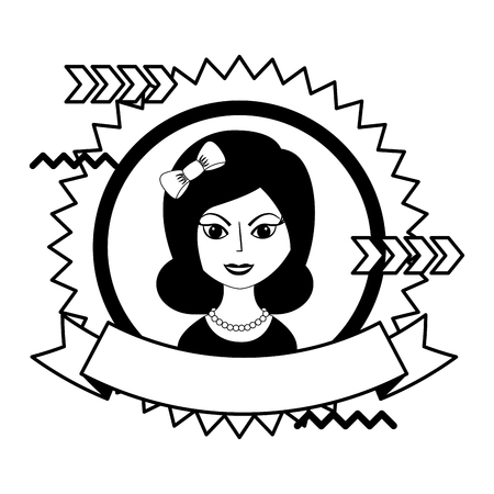 beautiful woman with headband retro style stamp vector illustration black and white 矢量图像