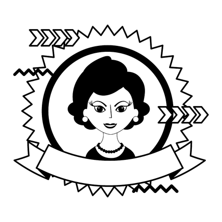 beautiful woman character classic style stamp vector illustration black and white 向量圖像