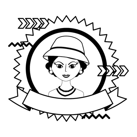 fashionable woman with hat retro style stamp vector illustration black and white