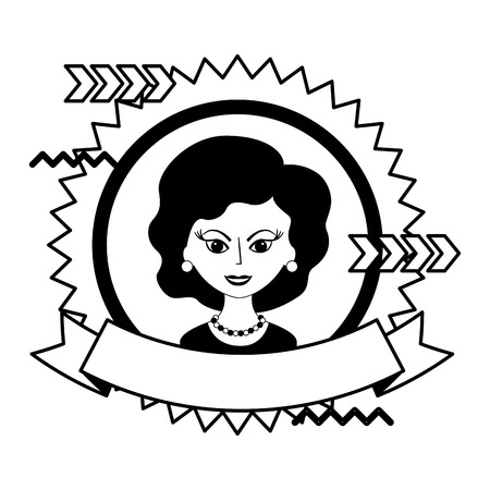 cute woman portrait retro style stamp vector illustration black and white