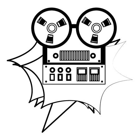 reel to reel tape recorder retro vintage vector illustration black and white  イラスト・ベクター素材