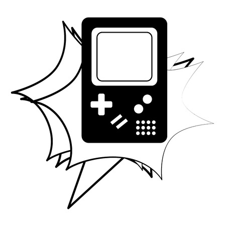 video game console classic retro vintage vector illustration black and white
