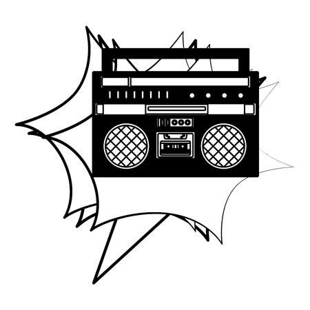 boombox radio stereo cassette music retro vector illustration black and white Illustration