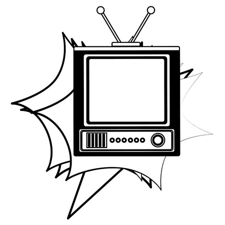television device retro vintage style vector illustration black and white Ilustrace