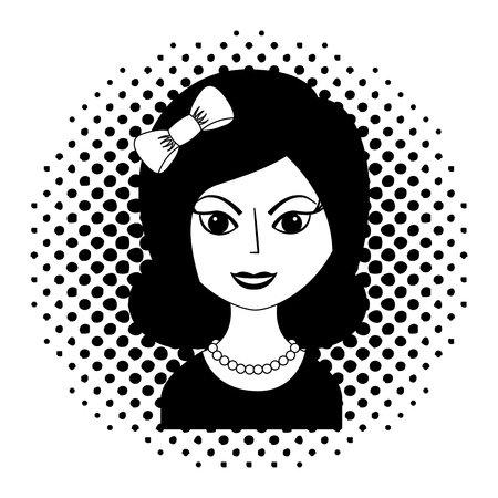 beautiful woman with headband retro style pop art vector illustration black and white Stock Vector - 102243413